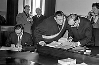 Rev Ian Paisley hands in his nomination papers at Crumlin Road Courthouse to returning officer Mr L Henderson. Paisley was contesting the seat held by N Ireland prime minister, Terence O'Neill. February 1969, 196902000211<br /> <br /> Copyright Image from Victor Patterson, 54 Dorchester Park, Belfast, UK, BT9 6RJ<br /> <br /> t1: +44 28 9066 1296 (from Rep of Ireland 048 9066 1296)<br /> t2: +44 28 9002 2446 (from Rep of Ireland 048 9002 2446)<br /> m: +44 7802 353836<br /> <br /> victorpatterson@me.com<br /> www.victorpatterson.com<br /> <br /> Please see my Terms and Conditions of Use at victorpatterson.com . It is IMPORTANT that you familiarise yourself with them.<br /> <br /> Images used on the Internet incur an additional cost and must be visibly watermarked i.e. ©Victor Patterson within the body of the image and copyright metadata must not be deleted. Images used on the Internet have a size restriction of 4kbs and are chargeable at rates available at victorpatterson.com.<br /> <br /> This image is only available for the use of the download recipient i.e. television station, newspaper, magazine, book publisher, etc, and must not be passed on to any third party. It is also downloaded on condition that each and every usage is notified within 7 days to victorpatterson@me.com<br /> <br /> The right of Victor Patterson to be identified as the author is asserted in accordance with The Copyright Designs And Patents Act (1988). All moral rights are asserted.