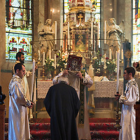 VENICE, ITALY - AUGUST 14:  A solemn Mass for the celebration of the Assumption is held at the Armenian monastery of San Lazzaro on August 14, 2011 in Venice, Italy. The Armenian Monastery is based on San Lazzaro which is a small island in the Venetian Lagoon lying immediately west of the Lido it is completely occupied by the monastery, founded around 1707, is the mother-house of the Mekhitarist Order, the island is one of the world's foremost centers of Armenian culture