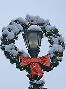 Winter Snow, Berks Co., PA Scene West Reading Street Scenes, Winter Holiday Wreath and Light