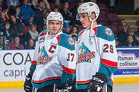 KELOWNA, CANADA - DECEMBER 27: Rodney Southam #17 and Nolan Foote #29 of the Kelowna Rockets line up <br /> against the Kamloops Blazerson December 27, 2016 at Prospera Place in Kelowna, British Columbia, Canada.  (Photo by Marissa Baecker/Shoot the Breeze)  *** Local Caption ***