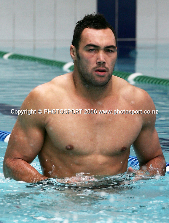 Warriors player Wairangi Koopu during the Warriors pool and media session held at Lincoln Fitness and Leisure centre, in Auckland, New Zealand on Thursday 24 August, 2006. Photo: Tim Hales/PHOTOSPORT