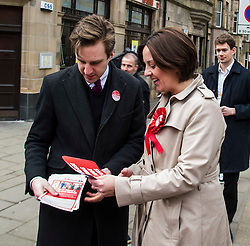 Pictured: Daniel Johnston (candidate) and Kezia Dugdale <br /> <br /> Scottish Labour leader, Kezia Dugdale began her Party's Holyrood election campaign by joining supporters at a street stall in Morningside in Edinburgh today. She was joned by local candidate Daniel Johnston<br /> <br />  Ger Harley | EEm 23 March 2016