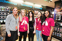 Magda Biedza, Louise O'Reilly, Lee Harper, Jenny Carroll, Ishara Fernando HMV staff at the opening of HMV Galwayat Edward square. Photo:Andrew Downes
