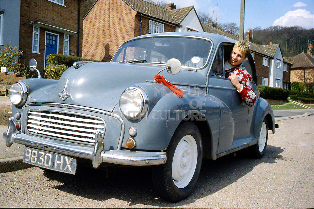Richard Parslow and Morris Minor, High Wycombe, UK, 1980s.