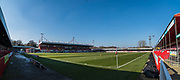 The sun is shining down on The People's Pension Stadium ahead of the EFL Sky Bet League 2 match between Crawley Town and Macclesfield Town at The People's Pension Stadium, Crawley, England on 23 February 2019.