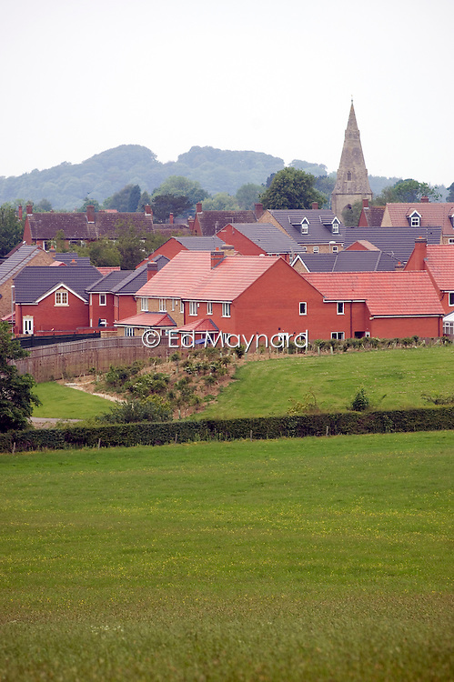 New modern housing development on the edge of a village, Billesdon, Leicestershire, England, UK.