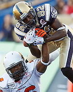 TREVOR HAGAN - Despite close coverage from  Anthony Reddick,Terrence Edwards was able to make this remarkable catch to score a touchdown as the Bombers rallied back to tie the BC Lions, and then defeat them in overtime. <br /> October 11, 2010