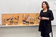 "Hempstead, New York, U.S. 12th November, 2013. Janet Hamlin, a courtroom artist covering the military tribunals at Guantanamo Bay since 2006, shows her charcoal drawings and discusses her work at Hofstra University. Much of the time she was the only journalist providing a visual record of the events at the United States naval base in Cuba, and her new book ""Sketching Guantanomo"" is a collection of her images."