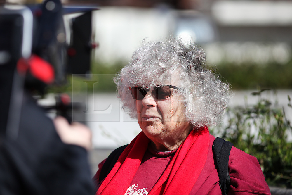 © Licensed to London News Pictures. 02/04/2016. London, UK. British actor Miriam Margoyles, who starred as Professor Pomona Sprout in the Harry Potter films, joins protesters in front of the US Embassy in London to call for the release of Steven Avery and Brendan Dassey, both jailed in connection with the 2005 murder of Teresa Halbach in Wisconsin, USA. The case was brought to prominence by the hit Netflix series 'Making a Murderer', which suggests the possibility of foul play in the arrest and convictions of the two men. Photo credit : Rob Pinney/LNP