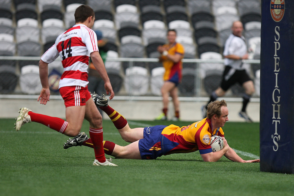 North Otago's Hamish McKenzie score a try against West Coast in the Heartland Championship rugby match, Forsyth Barr Stadium, Dunedin, New Zealand, Sunday, August 07, 2011. Credit:SNPA / Dianne Manson.