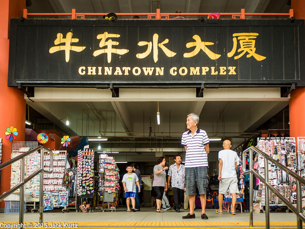 26 DECEMBER 2015 - SINGAPORE, SINGAPORE:   The entrance to Chinatown Complex, the main market in Singapore's Chinatown. It's now mostly a tourist market for cheap clothes tourist knick knacks.    PHOTO BY JACK KURTZ