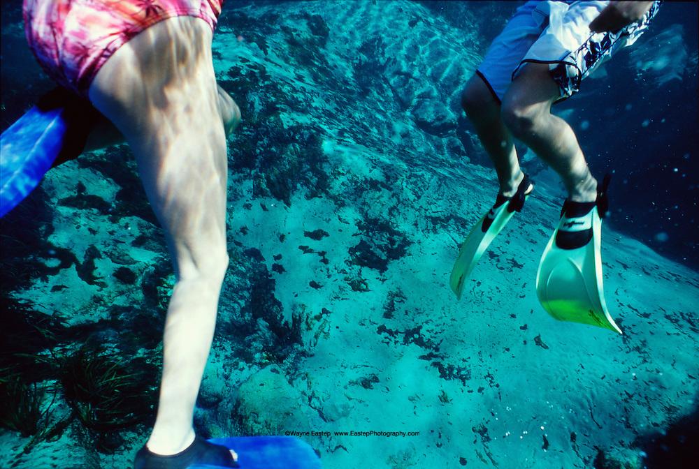 Kids snorkeling in Alexander Springs, Florida.