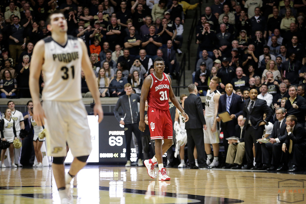 Indiana center Thomas Bryant (31) in action as Purdue played Indiana in an NCCA college basketball game in West Lafayette, Ind., Tuesday, Feb. 28, 2017. (Photo by AJ Mast)