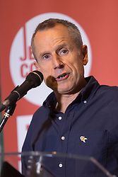 © Licensed to London News Pictures. 01/09/2015. London, UK. Comedien, Jeremy Hardy speaking in support of Jeremy Corbyn at the Arcola Theatre in Dalston, east London this evening, where he launched his Vision for the future of the arts. Photo credit : Vickie Flores/LNP