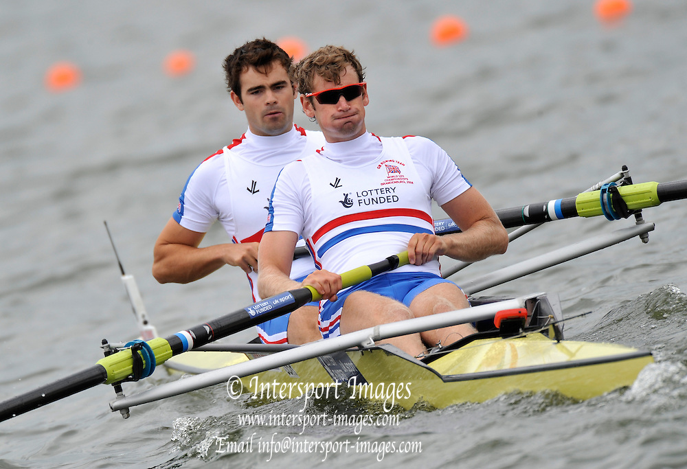 Brandenburg, GERMANY, GBR BM2-, Bow, Ben SMITH and Charles BURKITT, 2008 FISA U23 World Rowing Championships, Saturday, 19/07/2008, [Mandatory credit: Peter Spurrier Intersport Images]..... Rowing Course: Brandenburg, Havel Rowing Course, Brandenburg, GERMANY