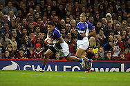 Samoa's Fa'atoina Autagavaia scores the opening try. Dove Men series, autumn international rugby international, Wales v Samoa at the Millennium stadium,  Cardiff in South Wales on Friday 16th November 2012.  pic by Andrew Orchard, Andrew Orchard sports photography,