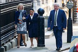 © Licensed to London News Pictures. 11/10/2016. London, UK. Justice Secretary LIZ TRUSS,  International Development Secretary PRITI PATEL and Conservative Party Chairman PATRICK MCLOUGLIN attend a cabinet meeting in Downing Street on Tuesday, 11 October 2016. Photo credit: Tolga Akmen/LNP