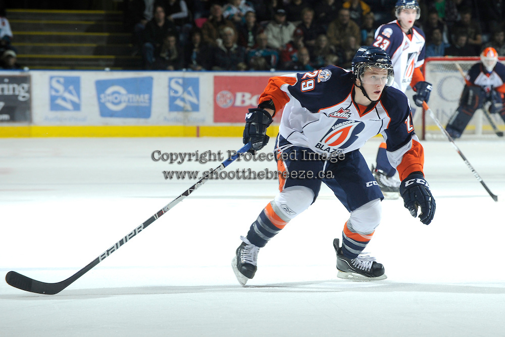 KELOWNA, CANADA, OCTOBER 29: Aspen Sterzer #29 of the Kamloops Blazers skates on the ice as the  Kamloops Blazers visit the Kelowna Rockets  on October 29, 2011 at Prospera Place in Kelowna, British Columbia, Canada (Photo by Marissa Baecker/Shoot the Breeze) *** Local Caption *** Aspen Sterzer;