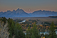 """Moon over Snake River Overlook on a fine Autumn morning<br /> <br /> For production prints or stock photos click the Purchase Print/License Photo Button in upper Right; for Fine Art """"Custom Prints"""" contact Daryl - 208-709-3250 or dh@greater-yellowstone.com"""