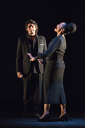 """© Licensed to London News Pictures. 23/06/2015. London, UK. Singers José Ángel Carmona and Vimala Rowe in Martinete. Paco Peña Dance Company perform the UK premiere of """"Flamencura"""" at Sadler's Wells Theatre. The flamenco show runs from 20 to 28 June 2015 and features six musicians and three dancers.Photo credit: Bettina Strenske/LNP"""