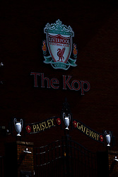LIVERPOOL, ENGLAND - Monday, August 3, 2020: Three European Cup trophies on the Paisley gateway outside the Spion Kop at Anfield, home of Liverpool FC. (Pic by David Rawcliffe/Propaganda)