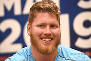 Ryan Crouser (USA) during a news conference at the Intercontinental Doha Hotel-The City, Thursday, May 2, 2019, in Doha, Qatar prior to the 2019 IAAF Diamond League Doha meeting. (Jiro Mochizuki/Image of Sport)