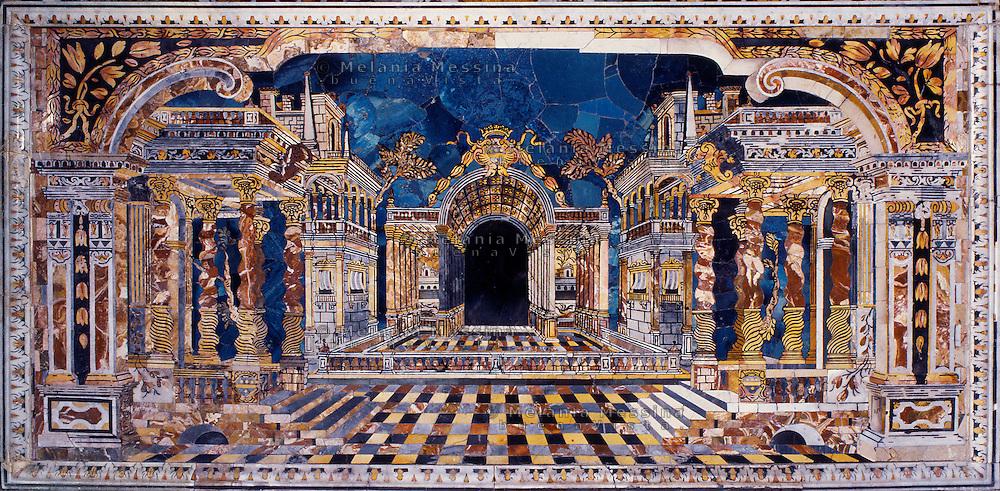 Palermo, &quot;Del Gesu'&quot; church, baroque art, marble altar frontal.<br /> Palermo, chiesa del Gesu', arte barocca, paliotto marmoreo.