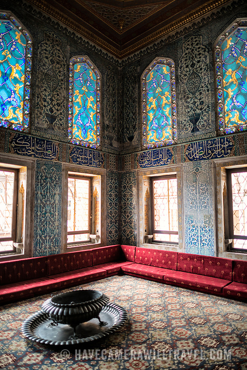 The Twin Kiosk at Topkapi Palace consists of two privy chambers built in the 17th century, at different times. It is decorated with Iznik tiles and draws on a number of classical Ottoman styles used throughout the palace. From the 18th century, the Twin Kiosk was used as the privy chamber of the Crown Prince. The Imperial Harem was the inner sanctum of the Topkapi Palace where the Sultan and his family lived. Standing on a peninsular overlooking the Bosphorus Strait and Golden Horn, Topkapi Palace was the primary residence of the Ottoman sultans for approximately 400 years (1465–1856) of their 624-year reign.