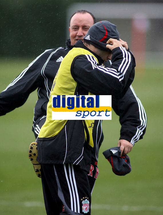 "Photo: Paul Thomas.<br />Liverpool training session. UEFA Champions League. 05/03/2007.<br /><br />Manager Rafael Benitez (Back) kicks Javier Mascherano ""up the arse"" before training starts."