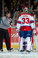 KELOWNA, BC - NOVEMBER 26:  Line official Cody Wanner stands at the net at the start of second period and speaks to Sebastian Cossa #33 of the Edmonton Oil Kings against the Kelowna Rockets at Prospera Place on November 26, 2019 in Kelowna, Canada. (Photo by Marissa Baecker/Shoot the Breeze)