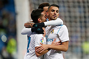 Real Madrid's Spanish midfielder Lucas Vazquez celebrates after scoring with Real Madrid's Spanish midfielder Daniel Ceballos during the Spanish cup, Copa del Rey, round of 16, 2nd leg football match between Real Madrid and Numancia on January 10, 2018 at Santiago Bernabeu stadium in Madrid, Spain - Photo Benjamin Cremel / ProSportsImages / DPPI