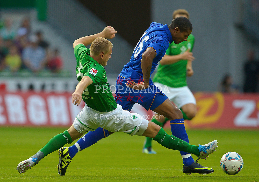 02.08.2011, Weserstadion, Bremen, GER, FSP, Werder Bremen vs FC Everton, im Bild.Andreas Wolf (Bremen #23 ) vs Magaye Gueye (Everton #19).// during the friendly match Werder Bremen vs FC Everton on 2011/08/02, Weserstadion, Bremen, Germany..EXPA Pictures © 2011, PhotoCredit: EXPA/ nph/  Kokenge       ****** out of GER / CRO  / BEL ******