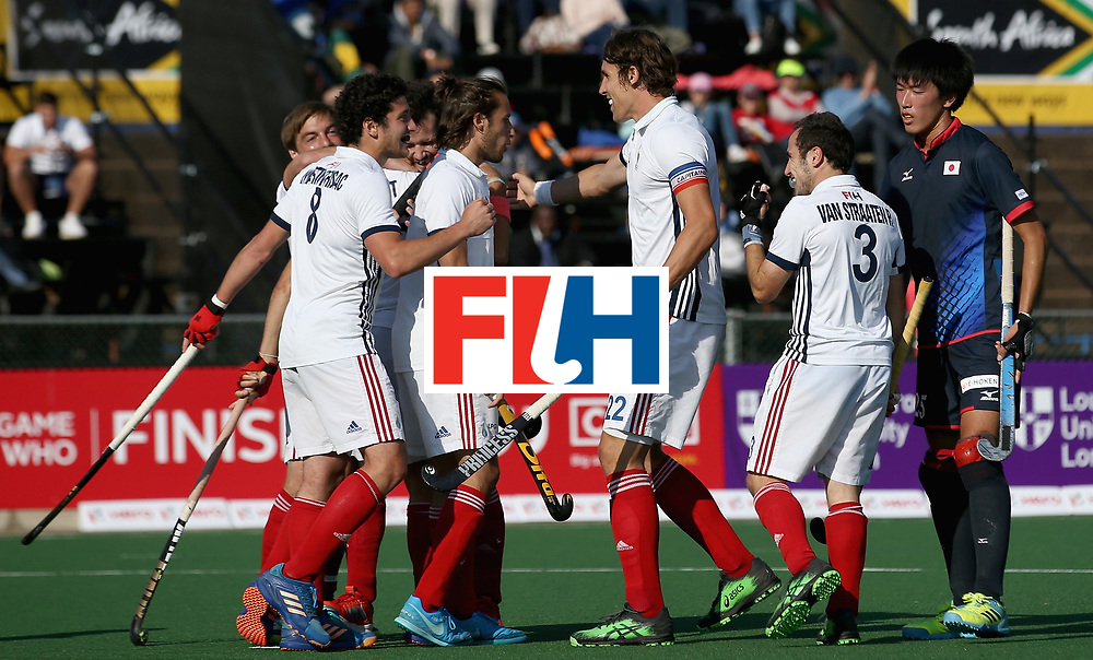 JOHANNESBURG, SOUTH AFRICA - JULY 13: France players celebrates their teams third goal during day 3 of the FIH Hockey World League Semi Finals Pool A match between Japan and France at Wits University on July 13, 2017 in Johannesburg, South Africa. (Photo by Jan Kruger/Getty Images for FIH)