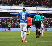 Queens Park Rangers midfielder, Tjaronn Chery (8) celebrating scoring opening goal during the Sky Bet Championship match between Queens Park Rangers and Birmingham City at the Loftus Road Stadium, London, England on 27 February 2016. Photo by Matthew Redman.