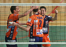 Players of ACH Volley (Satler, Pajenk, Skorc) celebrating at 4th and final match of Slovenian Voleyball  Championship  between OK Salonit Anhovo (Kanal) and ACH Volley (from Bled), on April 23, 2008, in Kanal, Slovenia. The match was won by ACH Volley (3:1) and it became Slovenian Championship Winner. (Photo by Vid Ponikvar / Sportal Images)/ Sportida)