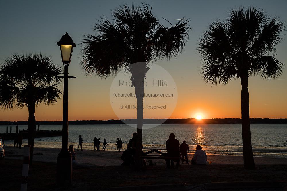 Sunset over Sea Pines Harbor Town looking toward Daufuskie Island on Hilton Head Island, South Carolina.