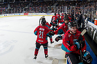 KELOWNA, CANADA - MARCH 16:  Schael Higson #21 of the Kelowna Rockets celebrates a goal against the Vancouver Giants on March 16, 2019 at Prospera Place in Kelowna, British Columbia, Canada.  (Photo by Marissa Baecker/Shoot the Breeze)