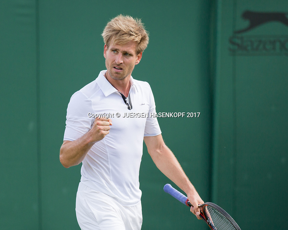 PETER GOJOWCZYK (GER) macht die Faust und jubelt nach seinem Sieg,Jubel,Fruede,Emotion,<br /> <br /> <br /> Tennis - Wimbledon 2017 - Grand Slam ITF / ATP / WTA -  AELTC - London -  - Great Britain  - 3 July 2017.