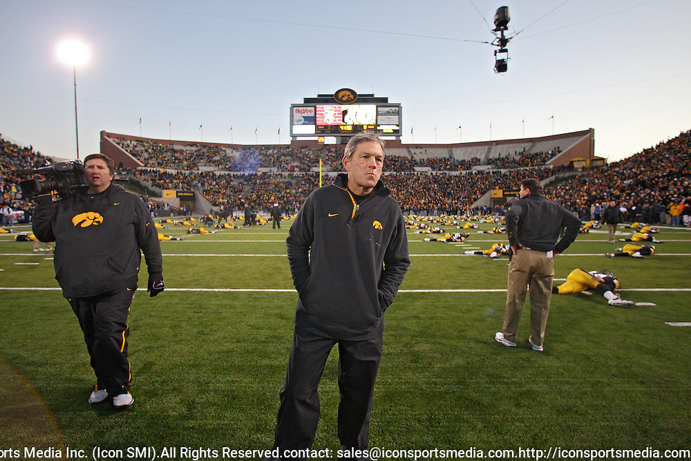 October 10, 2009: Iowa head coach Kirk Ferentz before the Iowa Hawkeyes' 30-28 win over the Michigan Wolverine's at Kinnick Stadium in Iowa City, Iowa on October 10, 2009.