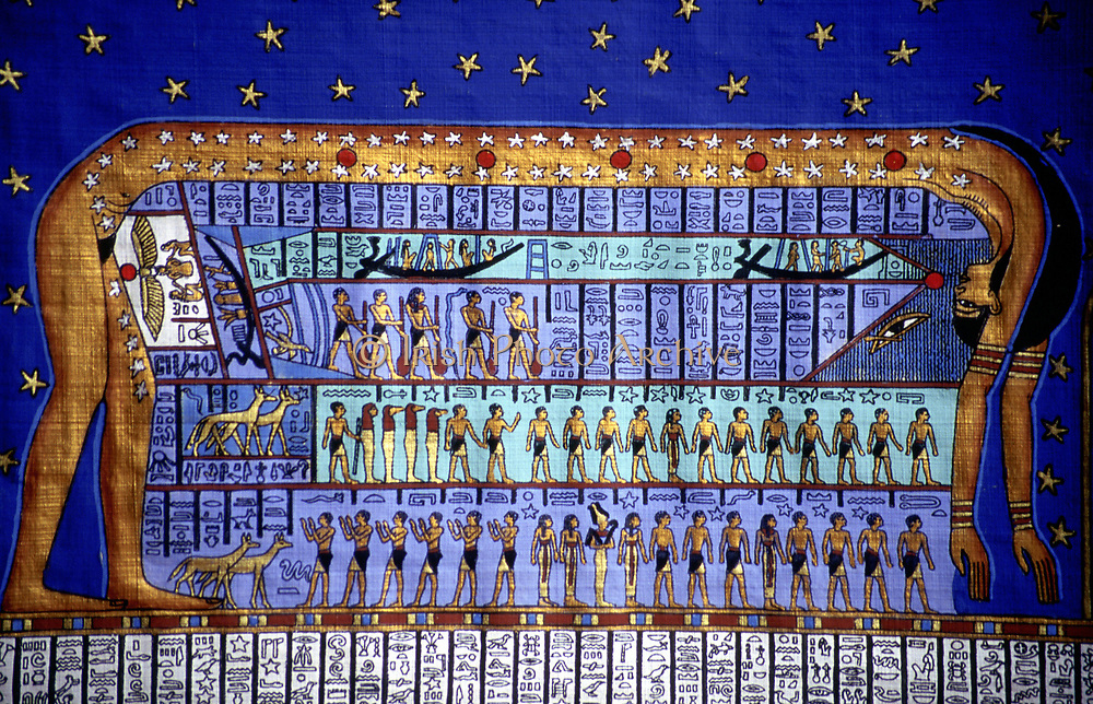 Egyptian cosmos. Goddess Nut bending to form the sky. Papyrus copy based on late Egyptian temple at Denderah.