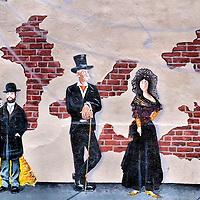 Victorian Dressed Citizens Mural on Speak Easy Bar called Piano Room in Flagstaff, Arizona<br />