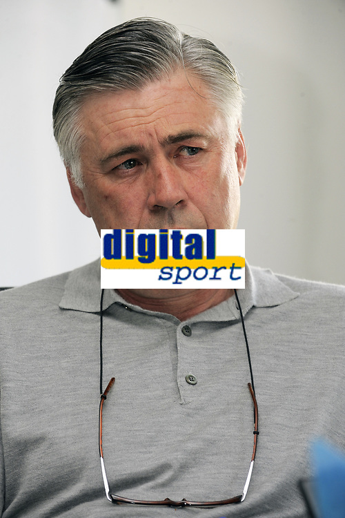 FOOTBALL - FRENCH CHAMPIONSHIP 2011/2012 - L1 - PARIS SAINT GERMAIN - CAMP DES LOGES - SAINT GERMAIN EN LAYE - INTERVIEW CARLO ANCELOTTI - 22/03/2012 - PHOTO JEAN MARIE HERVIO / DPPI