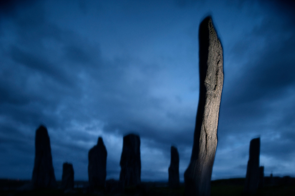 The Callanish Stones (or &quot;Callanish I&quot;), Clachan Chalanais or Tursachan Chalanais in Gaelic, are situated near the village of Callanish (Gaelic: Calanais) on the west coast of the isle of Lewis, in the Outer Hebrides (Western Isles), Scotland.<br /> To buy this print click on the SHOPPING CART below.