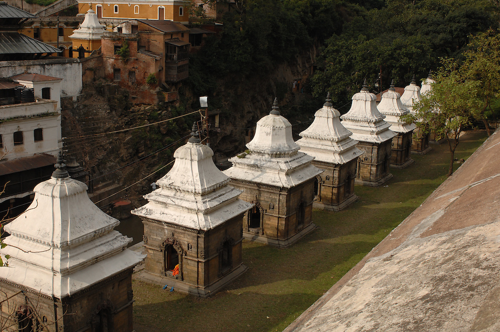 A row of small temples near Pashupatinath Temple, in Kathmandu, Nepal.