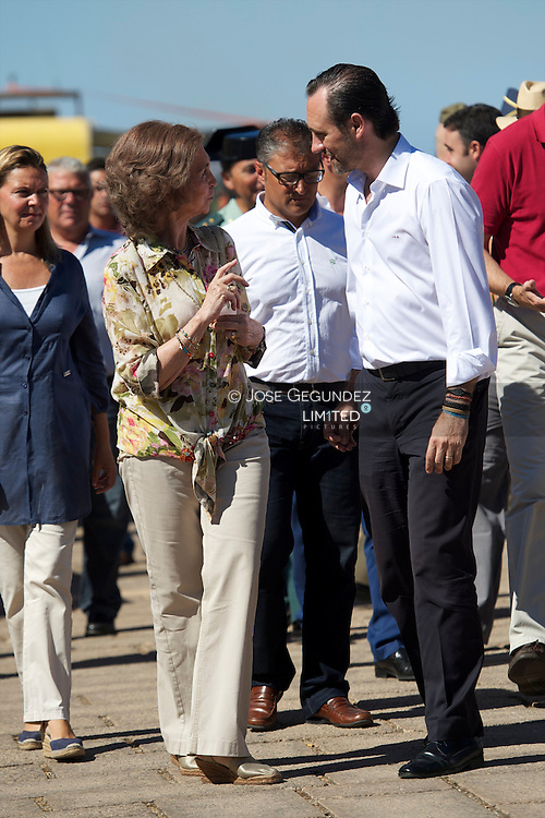 Queen Sofia of Spain, Prince Felipe of Spain and Princess Elena of Spain visit the village of Andratx after the fire that destroyed the forrest in the village on July 31, 2013 in Andratx, Mallorca, Spain