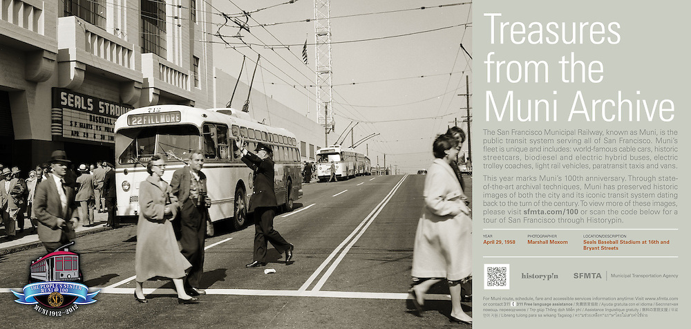 Trolley Coaches Outside of Seals Baseball Stadium at 16th & Bryant Sts; SF Giants vs. Philadelphia | April 29, 1958  | Treasures from the Muni Archive at the SFO International Terminal