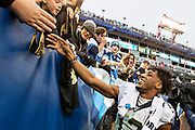 NASHVILLE, TN - DECEMBER 22:  Michael Thomas #13 of the New Orleans Saints shakes hands with fans after a game against the Tennessee Titans at Nissan Stadium on December 22, 2019 in Nashville, Tennessee. The Saints defeated the Titans 38-28.  (Photo by Wesley Hitt/Getty Images) *** Local Caption *** Michael Thomas