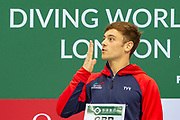 Tom Daley of Great Britain blows a kiss to the crowd after winning the Men's Syncronised 10m dive during the FINA/CNSG Diving World Series 2019 at London Aquatics Centre, London, United Kingdom on 17 May 2019.