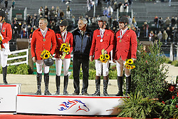 Team Belgium bronze medal<br /> Dirk Demeersman, Judy Ann Melchior, Chef d'equipe Philippe Guerdat, Jos Lansink, Philippe Lejeune<br /> Alltech FEI World Equestrian Games <br /> Lexington - Kentucky 2010<br /> © Dirk Caremans