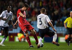 BIRMINGHAM, ENGLAND - Tuesday, October 14, 2008: Wales' Sam Vokes hits the post in the last minute against England during the UEFA European Under-21 Championship Play-Off 2nd Leg match at Villa Park. (Photo by Chris Ratcliffe/Propaganda)